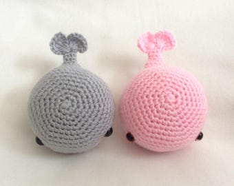 Crochet Pair of Whales Handmade Animal Wool Soft Toy Gift