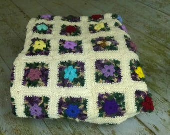 Colorful Hand Crochet Flower Granny Square Afghan, Blanket, Throw