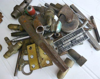 Assorted Bits and Pieces Salvaged Metal,  Tools,  Hardware,  Springs,  Caster