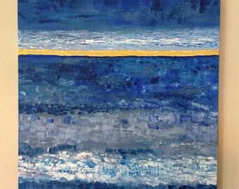 "Blue Ocean Abstract 1 - 20""x20"" Acrylic Painting Canvas"