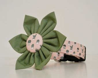 Succulents Cactus Pink Green Summer Dog Flower Collar Made to Order