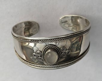 Silver Cuff with Moonstone. Vintage Sterling Silver, Open Backed Bangle, Ethnic, Boho Style
