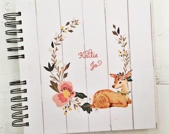 Baby Book |  Baby Memory Album | Rustic Floral Fawn Wire Bound Baby Memory Book Keepsake Album