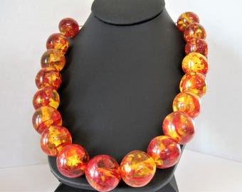 Confetti Lucite Necklace, Large Beads,  Marble Look, Adjustable Boho, Bright Orange Yellow Beads