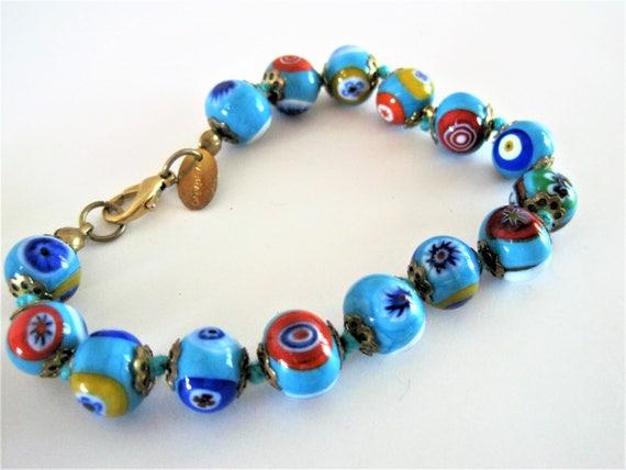 Murano Millefiori Bracelet -  Italian Glass Beads - Signed Murano Hang Tag