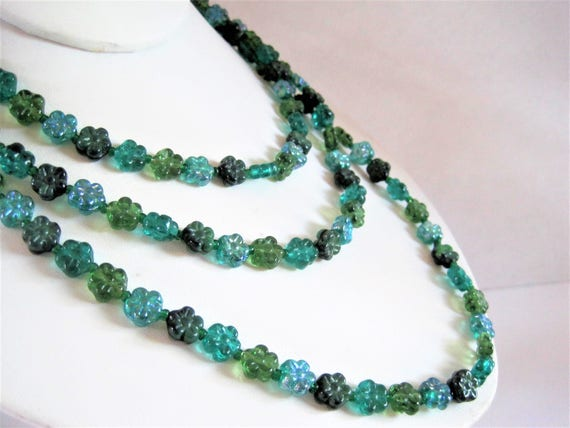 Green Lucite Necklace -  Flower Beads -  Multitone Green Beads - 54 Inch Long Flapper