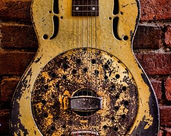 Metal Print - 1937 Collegian Dobro Metal Resonator, Steel Guitar  - Choose a size