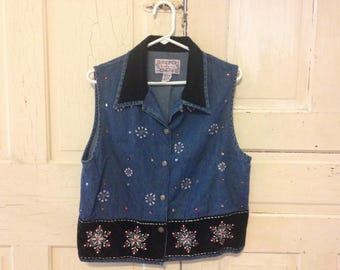 Holiday Jean and velvet VEST! Size Large