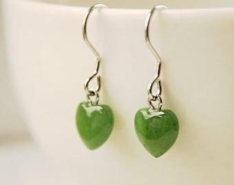 FLASH SALE Green Jade Heart Earrings - Sterling Silver - Little Hearts
