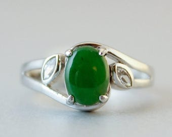 FLASH SALE Emerald Green Jade Ring - Nephrite Jade - Sterling Silver