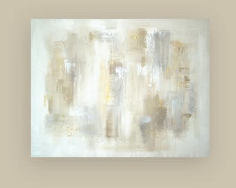Art, Metallic Painting, Large Original Abstract, Acrylic Paintings on Canvas by Ora Birenbaum Titled: Inner Peace 5 40x52x1.5""