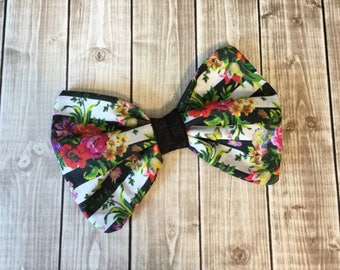 Black White Stripe Floral Fabric Hair Bow Clip - French inspired - You choose alligator clip or elastic band
