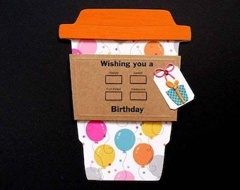 Balloon BIRTHDAY Latte Gift Card Holder
