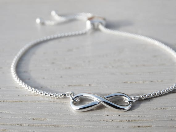 Infinity Bracelet With Heart Slider Clasp, Sterling Silver