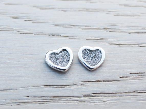 Sterling Silver Heart Studs, Stardust