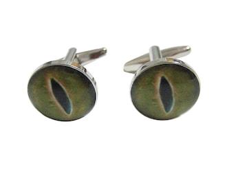 Green Reptile Eye Design Cufflinks