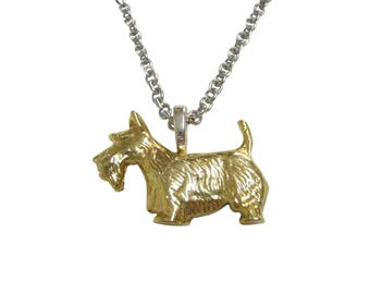 Gold Toned Textured Scottish Terrier Dog Pendant Necklace