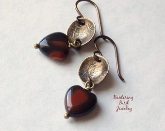 Small Agate Heart Earrings with Rustic Oxidized Golden Brass Stamped Discs, Natural Stone, Earthy Jewelry