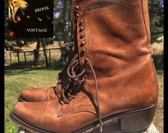 GUESS Brown Leather Lace-up Boots - Womens US 7.5 EU 38 - Prairie Country Boots - Lace Up Hook Eyelet Boots - Victorian Edwardian Shoes