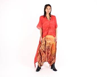 80s Sahara Desert Landscape Silk / Rayon Gauze Floaty FREE SIZE Slouchy Kaftan / Kimono Maxi Dress