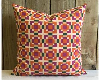 Vintage 1970s Yves Saint Laurent Fabric Cushion Cover , Designer Throw Pillow