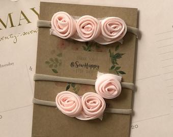 Blush Pink HEADBAND SET of three / Newborn Baby Girl Gift/ Baby Shower Gift/ Newborn Set/ Nylon Headband SET