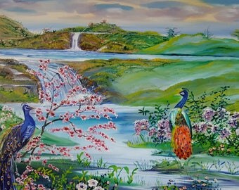 Peacocks by The Waterfall, Spring Landscape Oil, Beautiful Birds by Waterfalls, Healing Streams, Original Oil, 36 l, 25 t, Dan Leasure