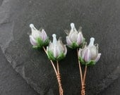 RESERVED LISTING 2 Pairs lilac rose headpins  Handmade lampwork glass