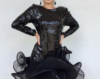 Amazing 80s avant garde designer Lillie Rubin rare sequin dress