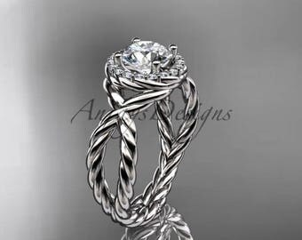 "Platinum rope halo diamond engagement ring with a ""Forever One"" Moissanite center stone RP8127"