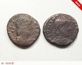 2 Ancient authentic Roman coins, coins for earrings, coins for rings or charms or keep as specimens. (c121765)