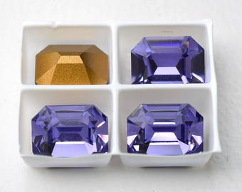12x10mm Tanzanite, 4 pieces, Octagon Rhinestones, 12x10mm Swarovski, Loose Crystals, Vintage Rhinestones, Tanzanite Octagons,