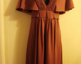 Vintage 1970's Brown Taupe Midi Maxi Sash Dress