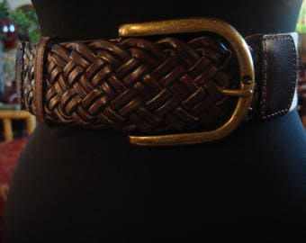 Vintage 1990s Boho Chic Chocolate Brown Leather Weaved Belt with Taupe Colored Elastic Back
