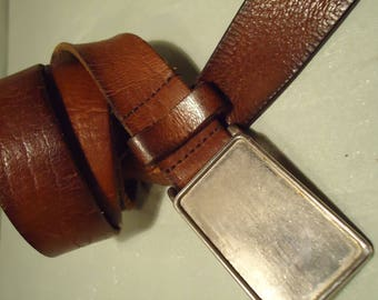 Vintage 1990s Brown Leather Silvertone Square Buckle Unisex Belt