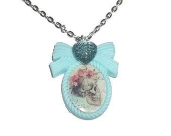 Skull Cameo Necklace, Skull and Rose, Floral, Mint Green Pastel Flower