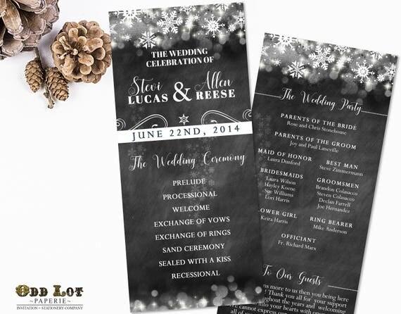 winter wedding program chalkboard wedding program printable