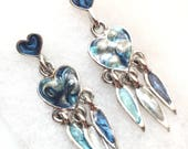 Blue Heart Dreamcatcher Earrings, Abalone Shell and Sterling Silver