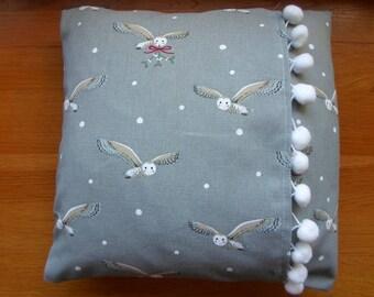 "Sophie Allport ""Night Owl"" Cushion with Pompom Trim"