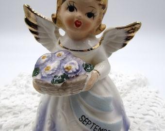 """Vintage Nippon September Little Angel Figurine,  Nippon """"September"""" Birthday Angel Figurine with Violets Flowers, Nippon Birthday Figurines"""