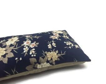 Navy Blue Rectangular Printed Linen/Cotton mix Lumbar Throw Pillow, Decorative Pillow/Cushion Cover, Pillow Cover