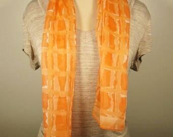 Orange Sheer Scarf - Vintage Vera Long Geometric