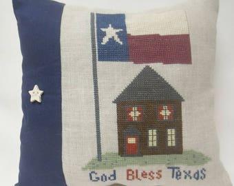 God Bless Texas Mini Pillow Cross Stitch Shelf Pillow
