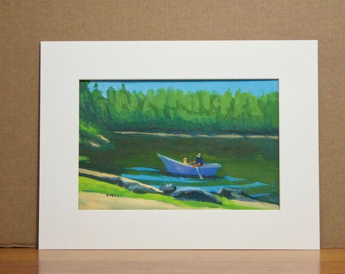 Landscape Painting Fishing Buddies North Twin Lake Central Oregon Fisherman and His Dog in Boat