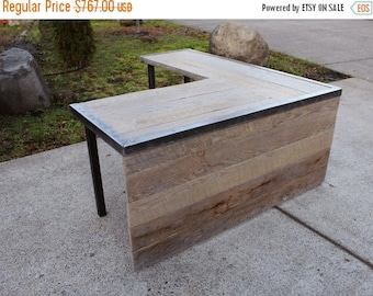 Limited Time Sale 10% OFF Custom L Shaped Industrial desk without front panel and with custom stain
