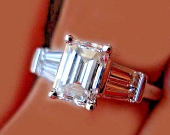 VINTAGE INSPIRED 3.80 Ctw GIA Certified Emerald Cut Diamond Engagement Ring Plat