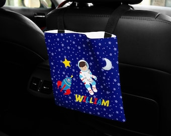 Personalized Car Back Seat Bag - Astronaut Boy Girl Night Sky Rocket, Car Storage, Custom Car Bag, Car Organization, Car Travel Bag