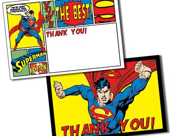 Superman Thank You Cards, Superman Thank You Notes, Superman Thank You Card, Hero Thank You Card, Superhero Thank You Note, Hero Party