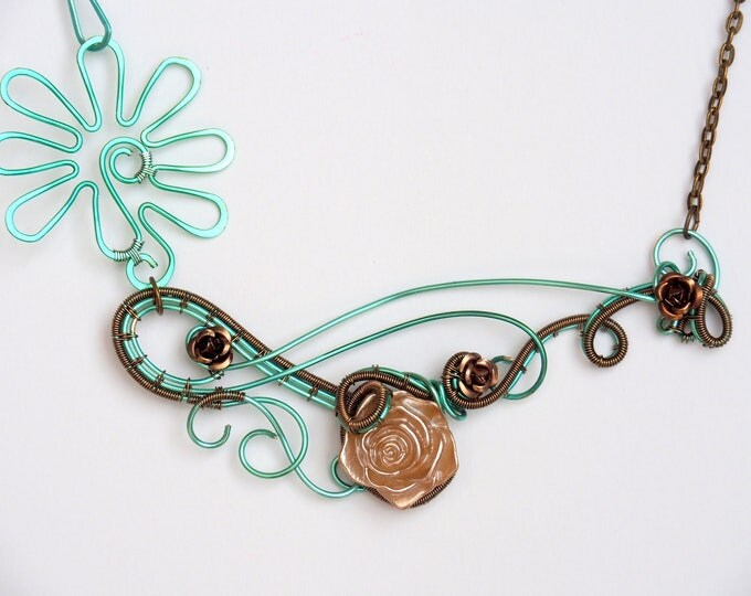 Rose Statement necklace ~ Wire wrapped ~ Teal and bronze