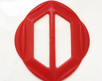 vintage red eco friendly recycled rounded hexagon shaped belt buckle